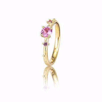 Bilde av 1108YG Shine Ring - g.gull med rosa og gule safirer - str 56
