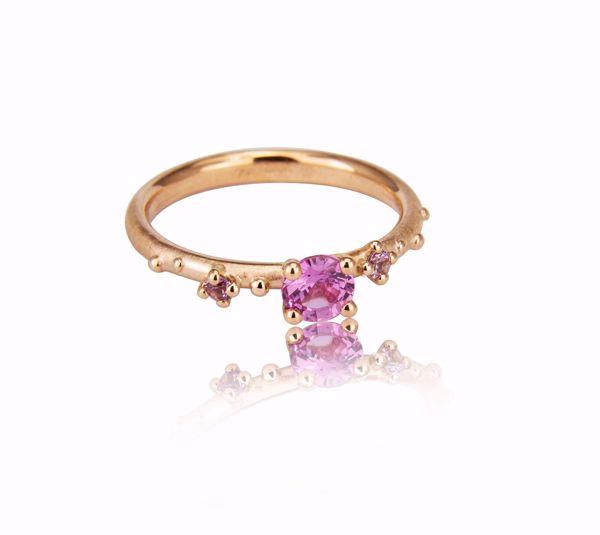 Bilde av 1108RG Shine Ring - rose gull med rosa safirer str. 56